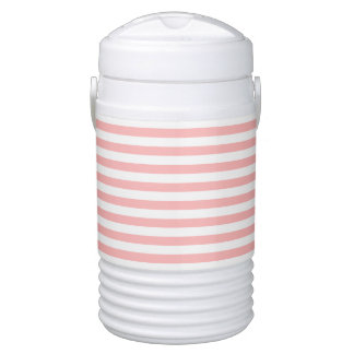 Pink and White Stripe Pattern Drinks Cooler