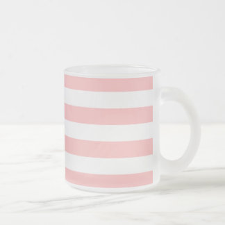 Pink and White Stripe Pattern Frosted Glass Coffee Mug