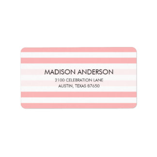 Pink and White Stripe Pattern Label