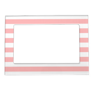 Pink and White Stripe Pattern Magnetic Picture Frame