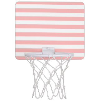 Pink and White Stripe Pattern Mini Basketball Hoop