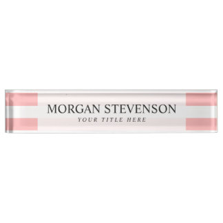 Pink and White Stripe Pattern Name Plate