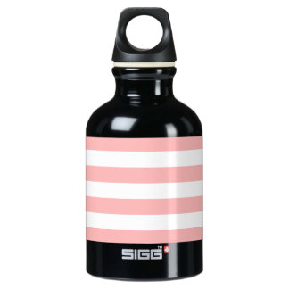 Pink and White Stripe Pattern Water Bottle