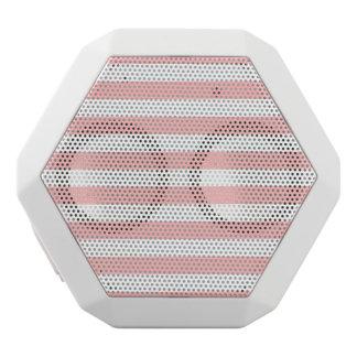 Pink and White Stripe Pattern White Bluetooth Speaker