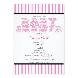 Pink and White Striped Circus Baby Shower Invitati 13 Cm X 18 Cm Invitation Card