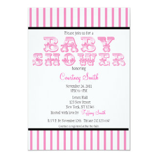 Pink and White Striped Circus Baby Shower Invitati Card