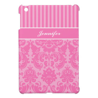Pink and White Striped Damask iPad Mini Case