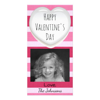Pink and White Striped Valentines Day Photo Card