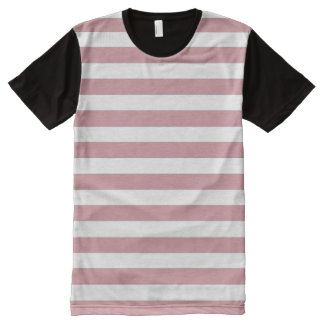 Pink and White Stripes All-Over Print T-Shirt