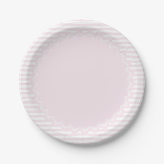 Pink and white stripes - Custom Paper Plates 7 Inch Paper Plate