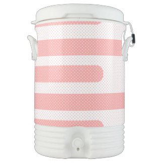 Pink and White Stripes Drinks Cooler