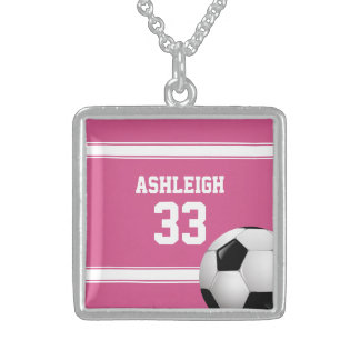 Pink and White Stripes Jersey Soccer Ball Pendants