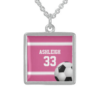 Pink and White Stripes Jersey Soccer Ball Personalized Necklace