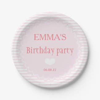 Pink and white stripes - Personalized Paper Plates 7 Inch Paper Plate