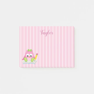 Pink and White Stripes Pink Owl Post-it Notes