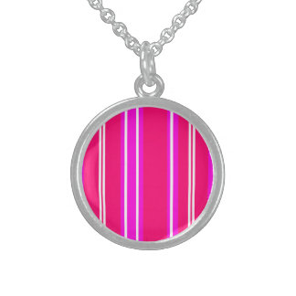 Pink and white stripes round pendant necklace