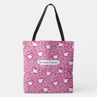 Pink and White Swan Pattern Tote Bag