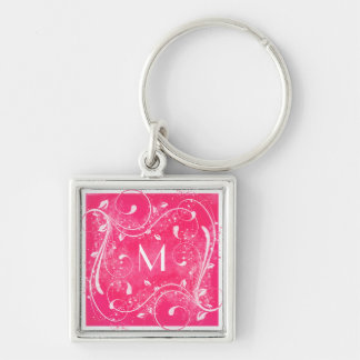 Pink and White Swirls Monogram Keychain