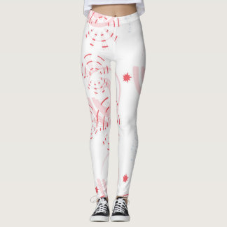 Pink and White Swirly Design Leggings Yoga Pants