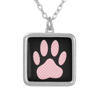 Pink And White Tartan Dog Paw Print Silver Plated Necklace