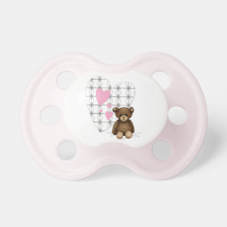 Pink and white teat with hearts and teddy pacifiers