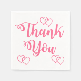 Pink and White Thank You Hearts Wedding Party Paper Serviettes