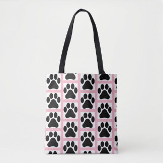 Pink and White Tiled Paw Print Pattern Tote Bag