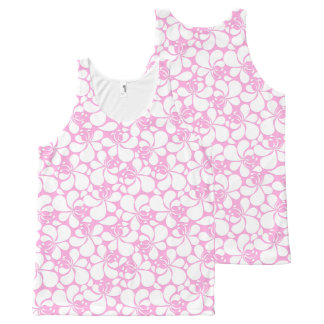 Pink and white tropical floral All-Over print singlet
