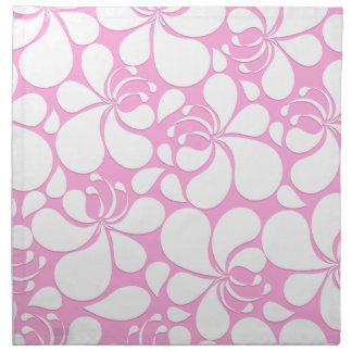 Pink and white tropical floral napkin