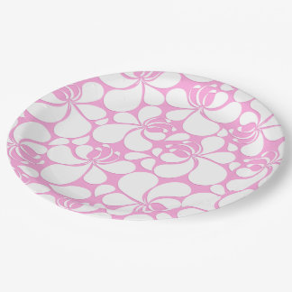Pink and white tropical floral paper plate