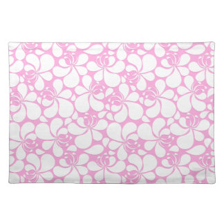 Pink and white tropical floral placemat
