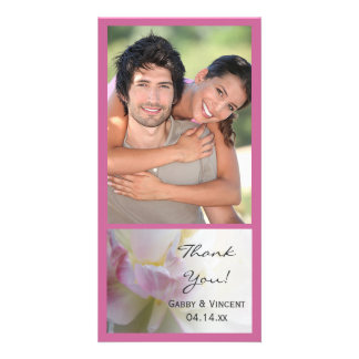 Pink and White Tulip Flower Wedding Thank You Photo Card