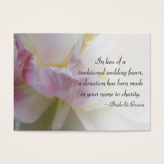 Pink and White Tulips Wedding Charity Favor Card