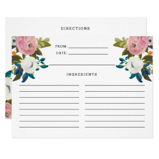 Pink and White Turquoise Floral Blooms Recipe Card