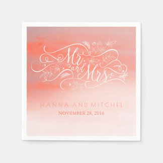 Pink and White Typography Watercolors Wedding Disposable Serviette
