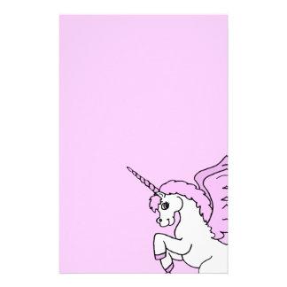 Pink and White Unicorn Graphic Custom Stationery
