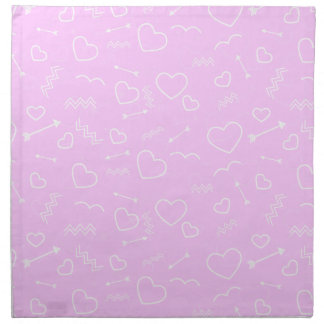 Pink and White Valentines Love Heart and Arrow Napkin