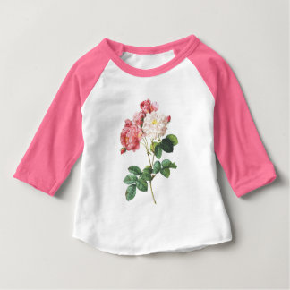 Pink and White Vintage Roses Baby T-Shirt