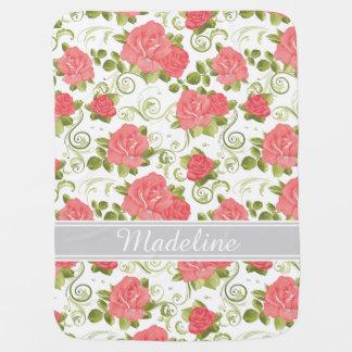 Pink and White Vintage Roses Monogram Baby Blanket