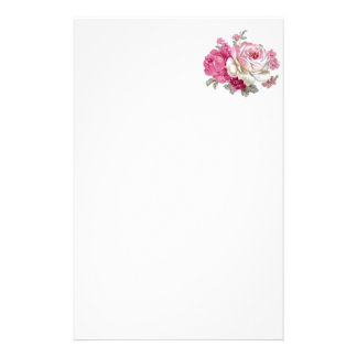 Pink and White Vintage Roses Customized Stationery