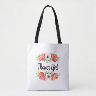 Pink and White Watercolor Floral Flower Girl Tote