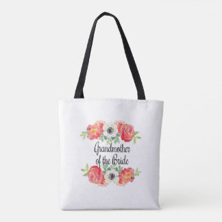 Pink and White Watercolor Floral Grandmother Bride Tote Bag