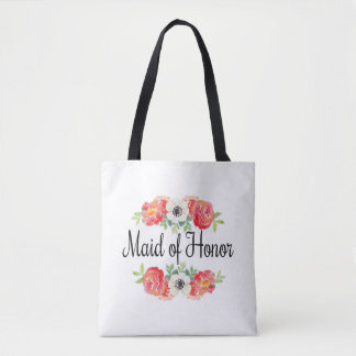 Pink and White Watercolor Floral Maid of Honor Tote Bag