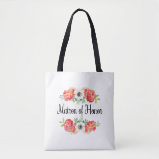Pink and White Watercolor Floral Matron of Honor Tote Bag