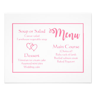 Pink And White Wedding Menu Party