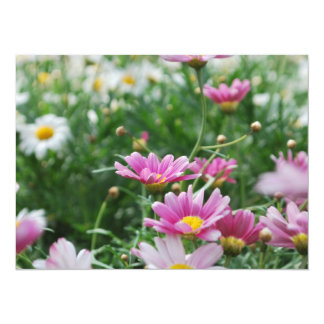 Pink and White Wildflowers 5.5x7.5 Paper Invitation Card
