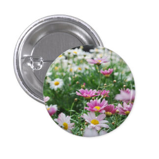 Pink and White Wildflowers Pin