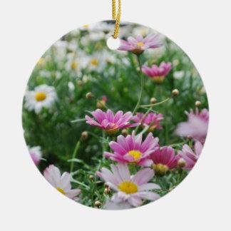 Pink and White Wildflowers Round Ceramic Decoration