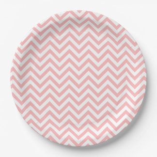Pink and White Zigzag Stripes Chevron Pattern 9 Inch Paper Plate