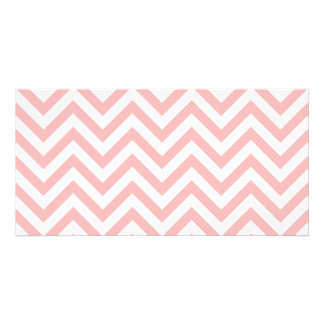 Pink and White Zigzag Stripes Chevron Pattern Customized Photo Card